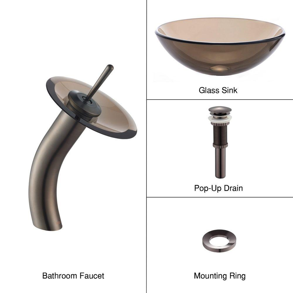 KRAUS Glass Vessel Sink in Brown with Single Hole Single-Handle Low-Arc Waterfall Faucet in Oil Rubbed Bronze