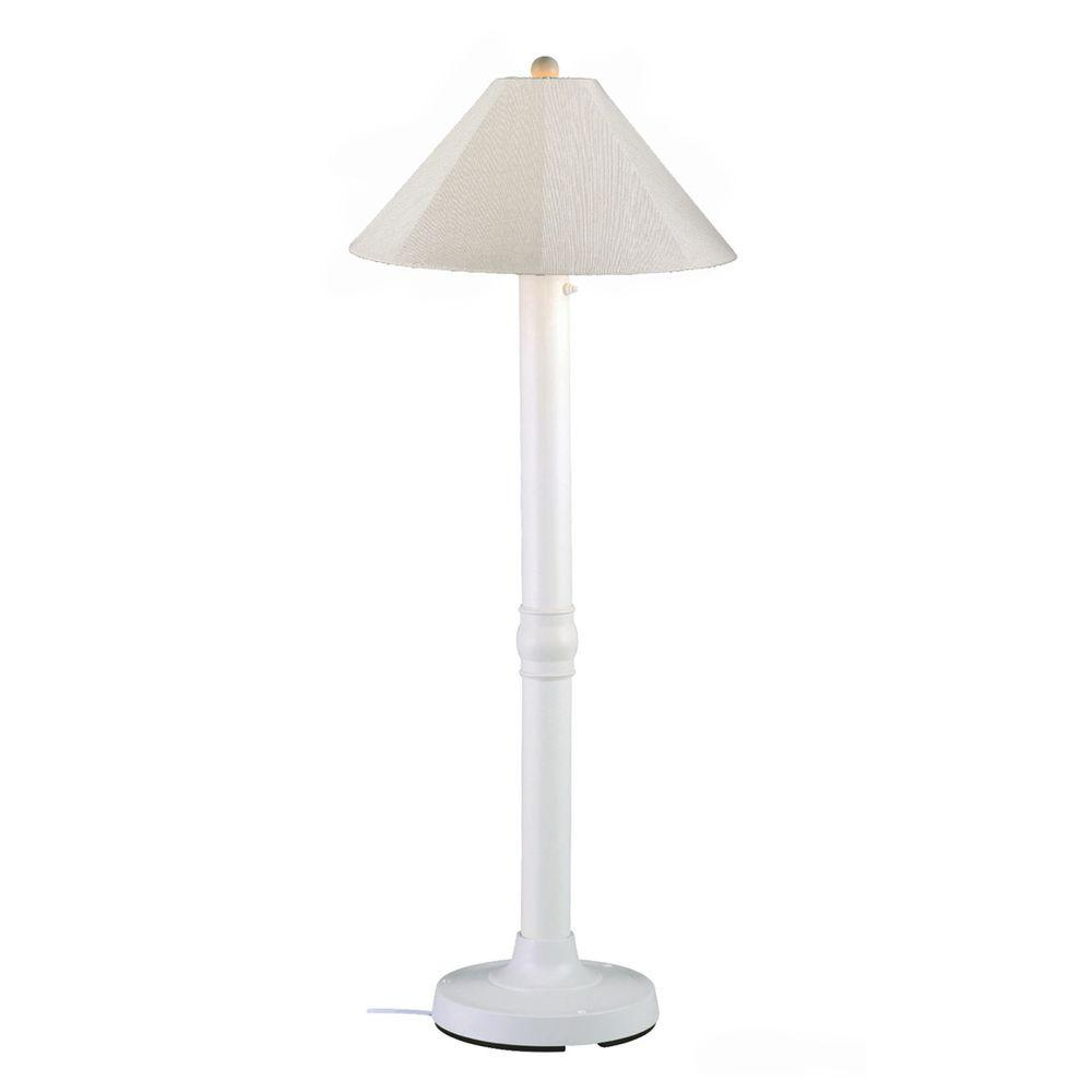 Seaside 60 in. White Outdoor Floor Lamp with Canvas Linen Shade