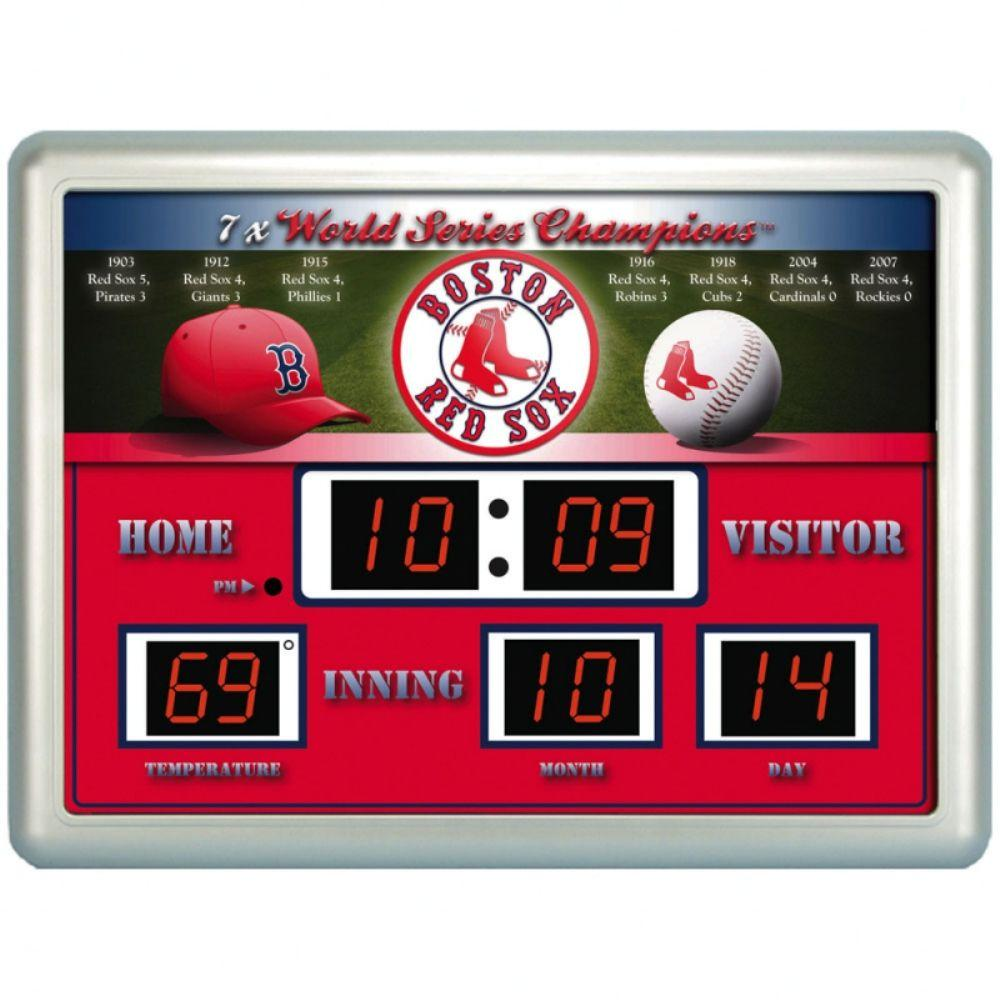 null Boston Red Sox 14 in. x 19 in. Scoreboard Clock with Temperature