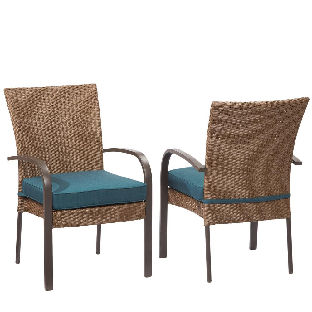 Hampton Bay Corranade Stackable Wicker Outdoor Dining Chair with Charleston C