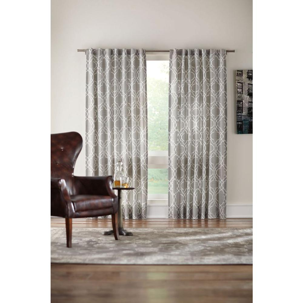 Semi-Opaque Gray Garden Gate Cotton Back Tab Curtain - 95 in.