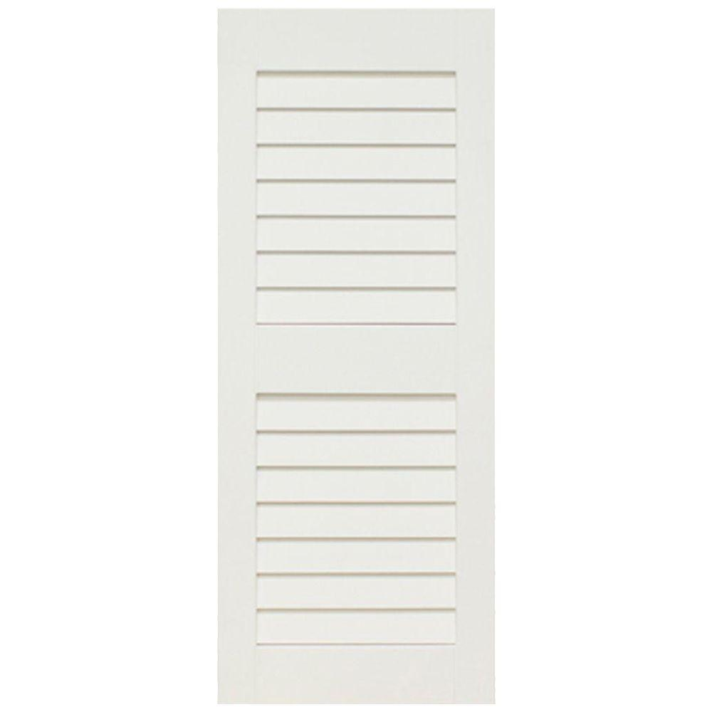 Home Fashion Technologies Plantation 14 in. x 47 in. Solid Wood Louvered Shutters Pair Primed