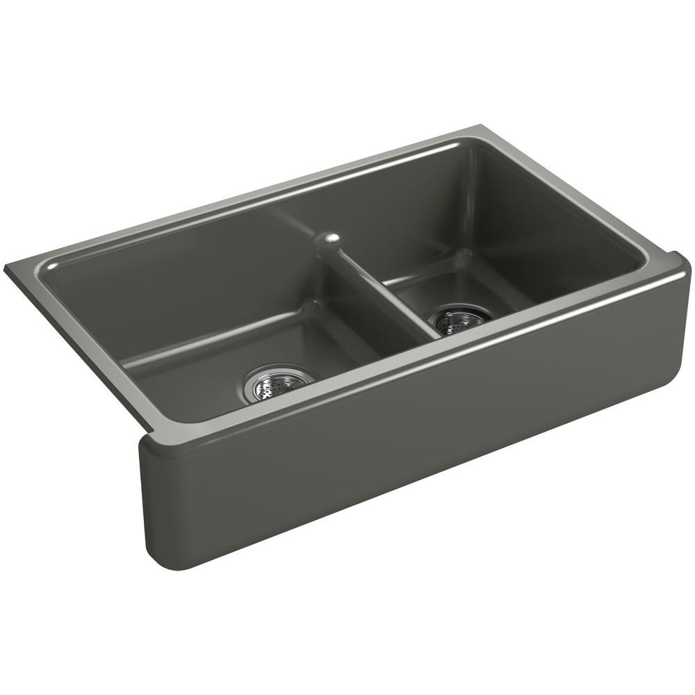 KOHLER Whitehaven Smart Divide Undermount Farmhouse Apron-Front Cast Iron 36 in. Double Basin Kitchen Sink in Thunder Grey