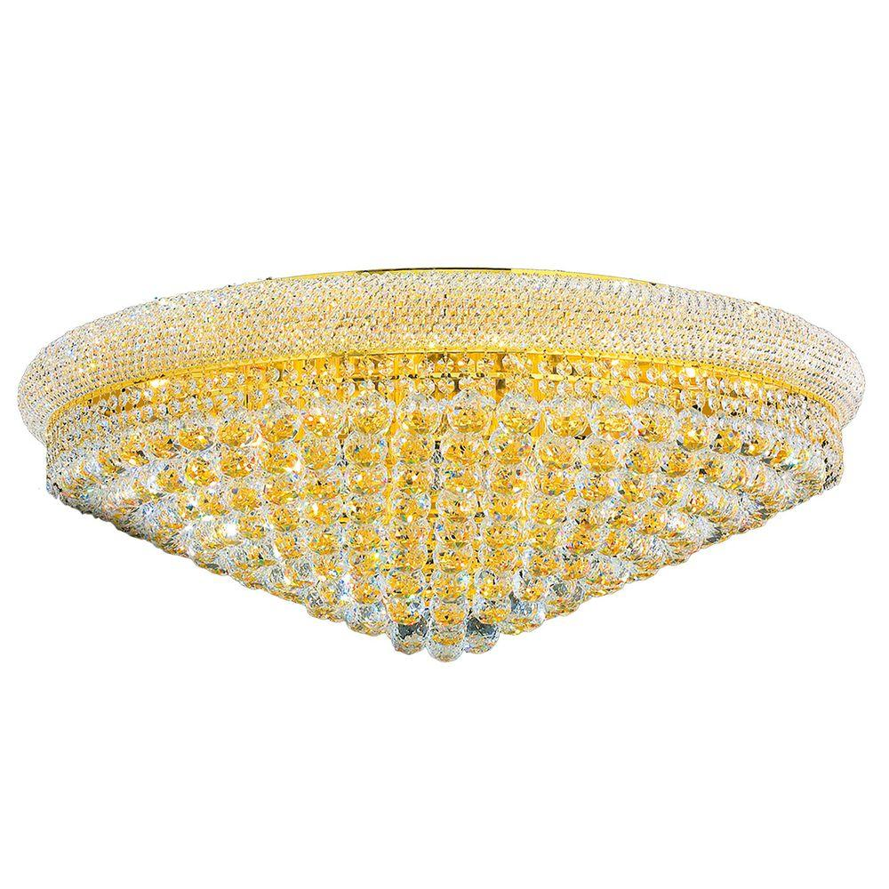 Worldwide Lighting Empire Collection 20-Light Gold Flushmount with Clear Crystal