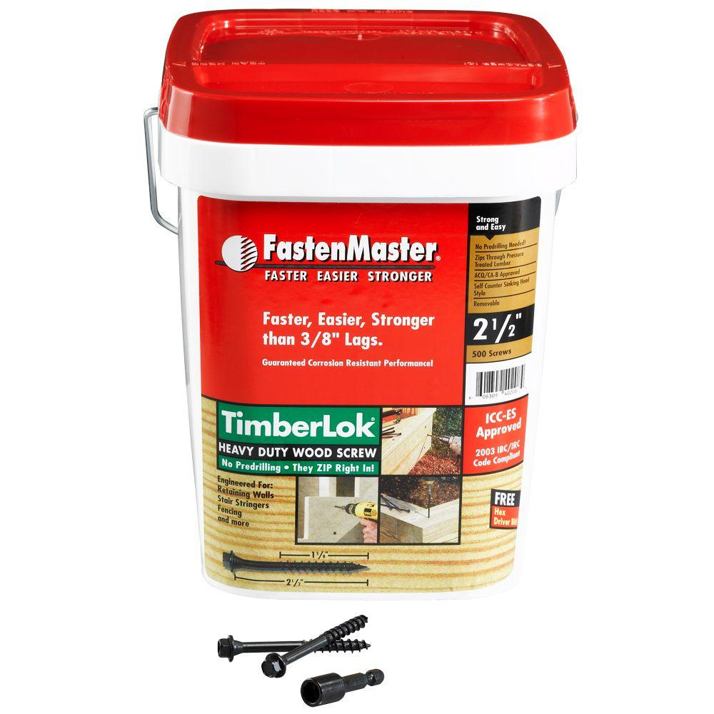 FastenMaster TimberLok 2-1/2 in. Heavy Duty Wood Screw - 500 Pack-FMTLOK212-500