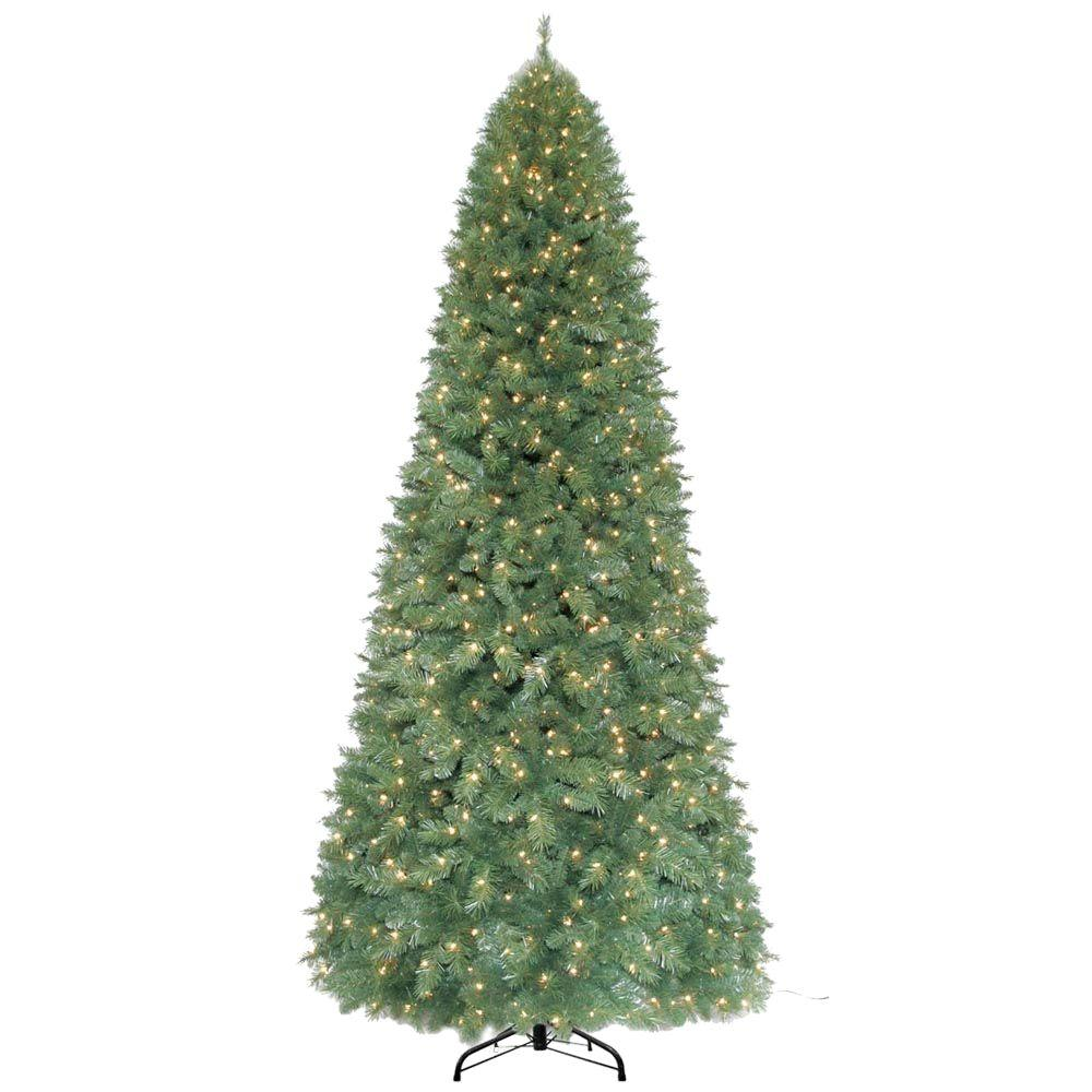 Home Accents Holiday 12 ft. Pre-Lit Morgan Pine Quick-Set Artificial Christmas Tree with 1100 Clear Lights