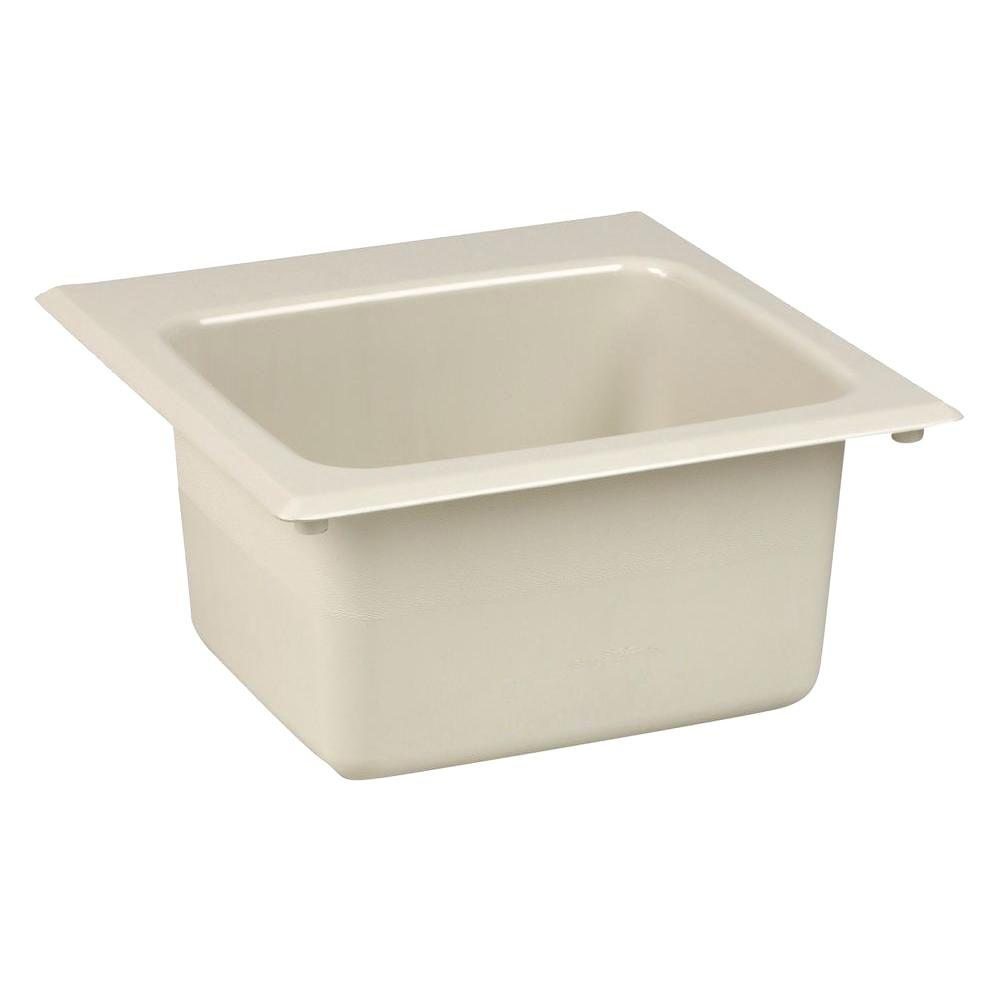null 15 in. x 15 in. Fiberglass Self-Rimming Bar Sink in Biscuit
