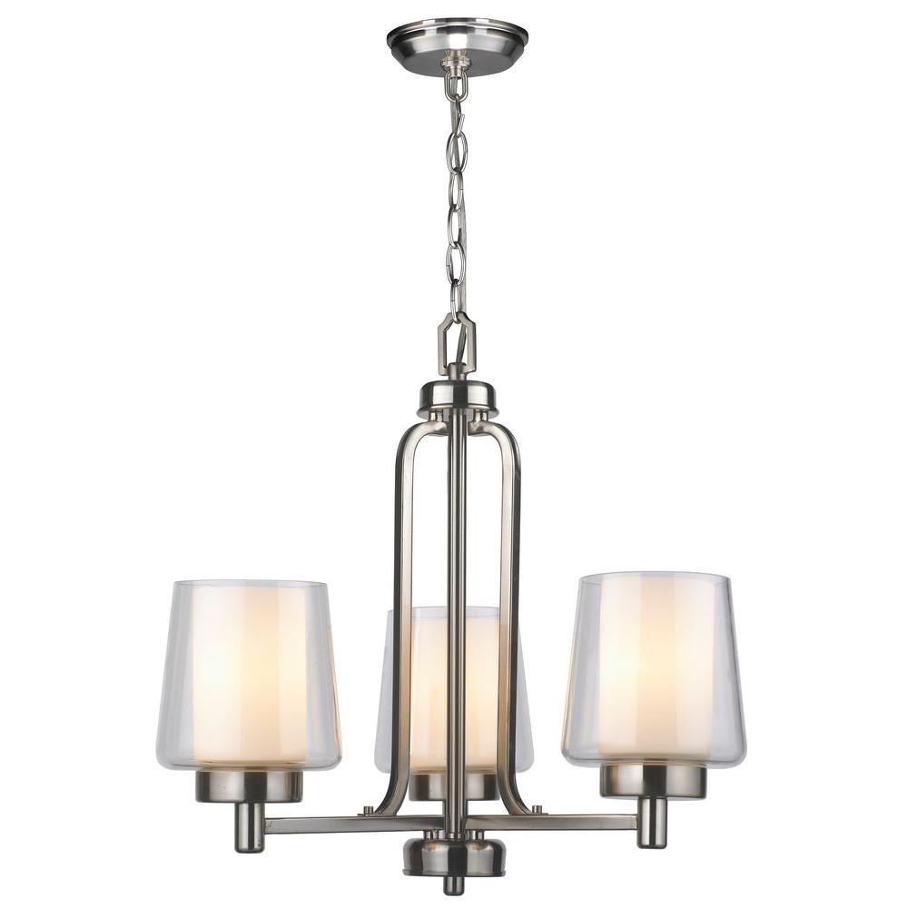 World Imports 3-Light Brushed Nickel Chandelier with Glass Shade