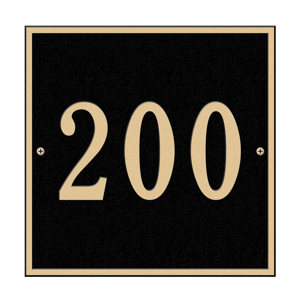 Square Standard Wall 1-Line Address Plaque - Black/Gold