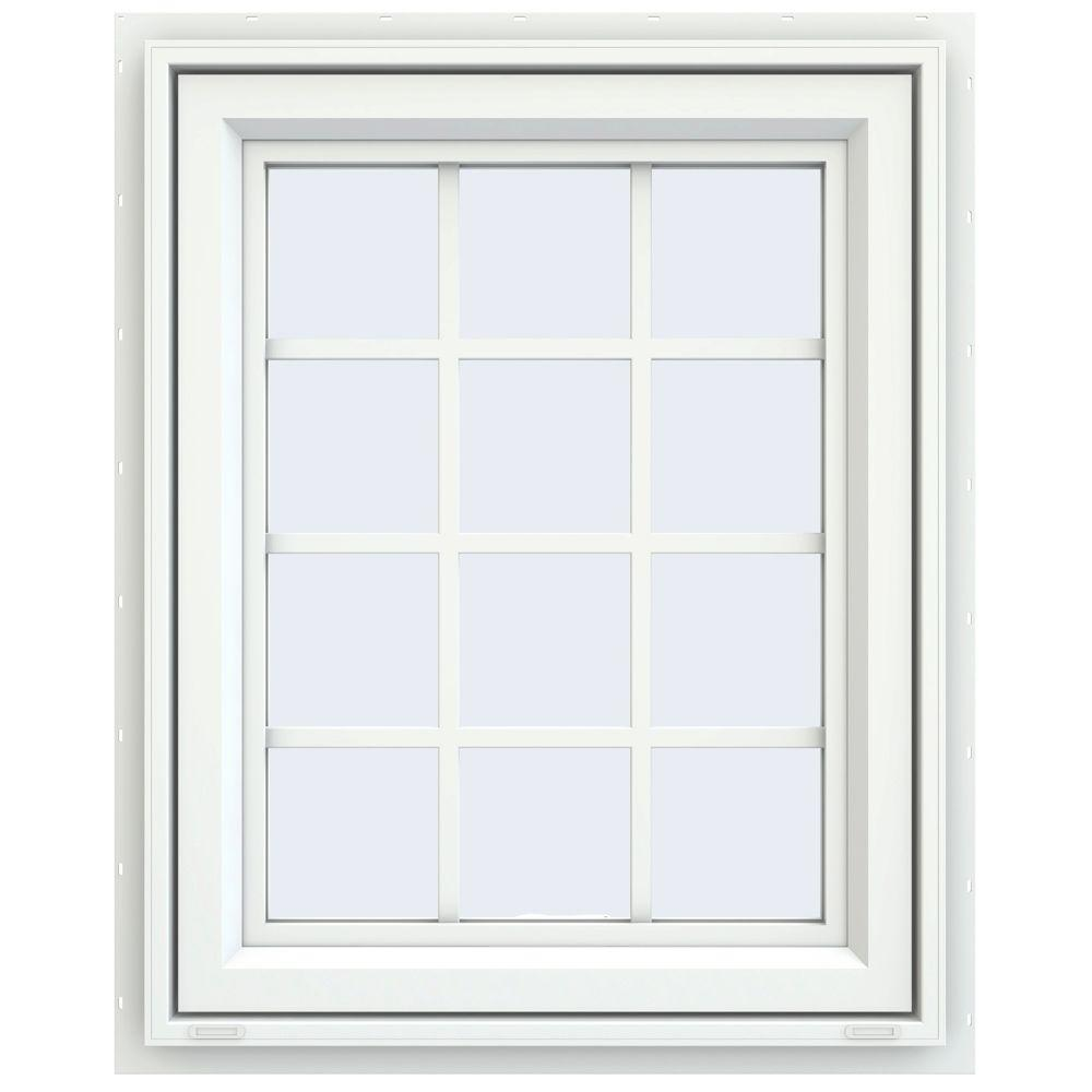 JELD-WEN 29.5 in. x 35.5 in. V-4500 Series Awning Vinyl Window with Grids - White