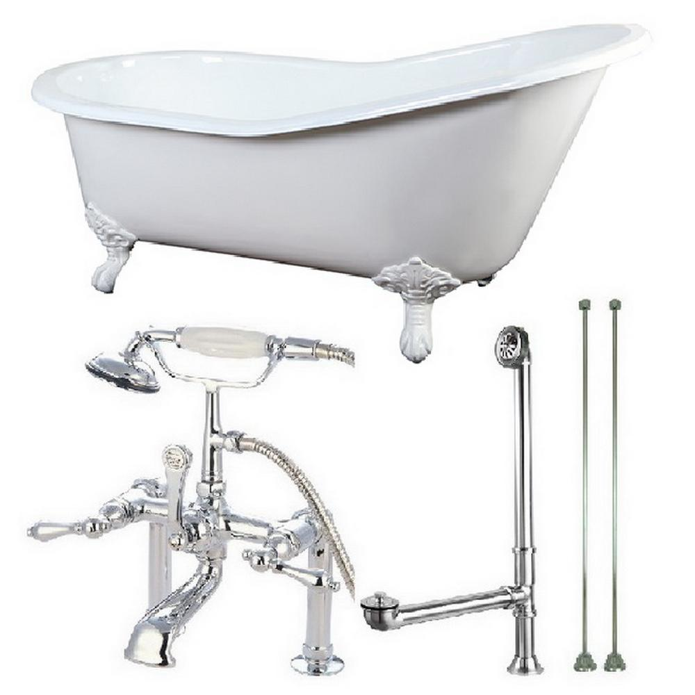 Aqua Eden Slipper 5 Ft Cast Iron Clawfoot Bathtub In White With Faucet Combo