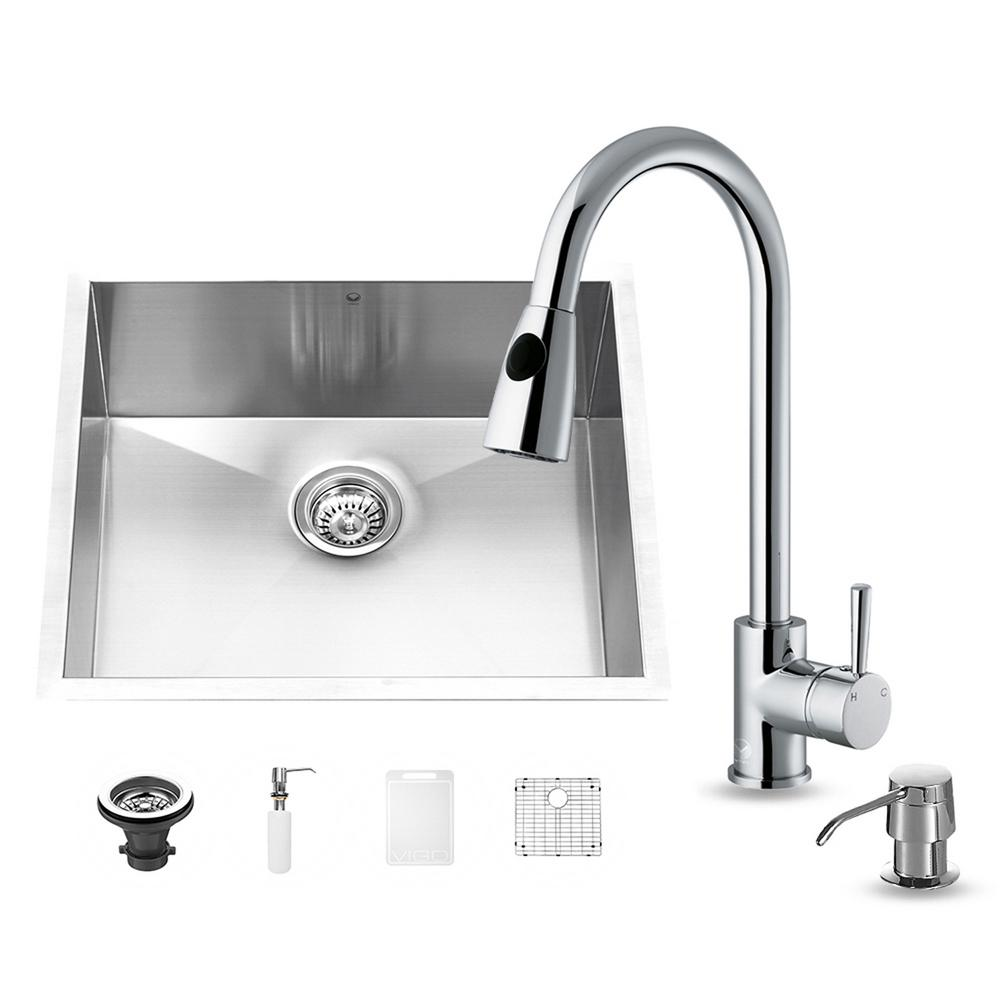 Vigo All-in-One Undermount Stainless Steel 23 in. Single Basin Kitchen Sink in Chrome