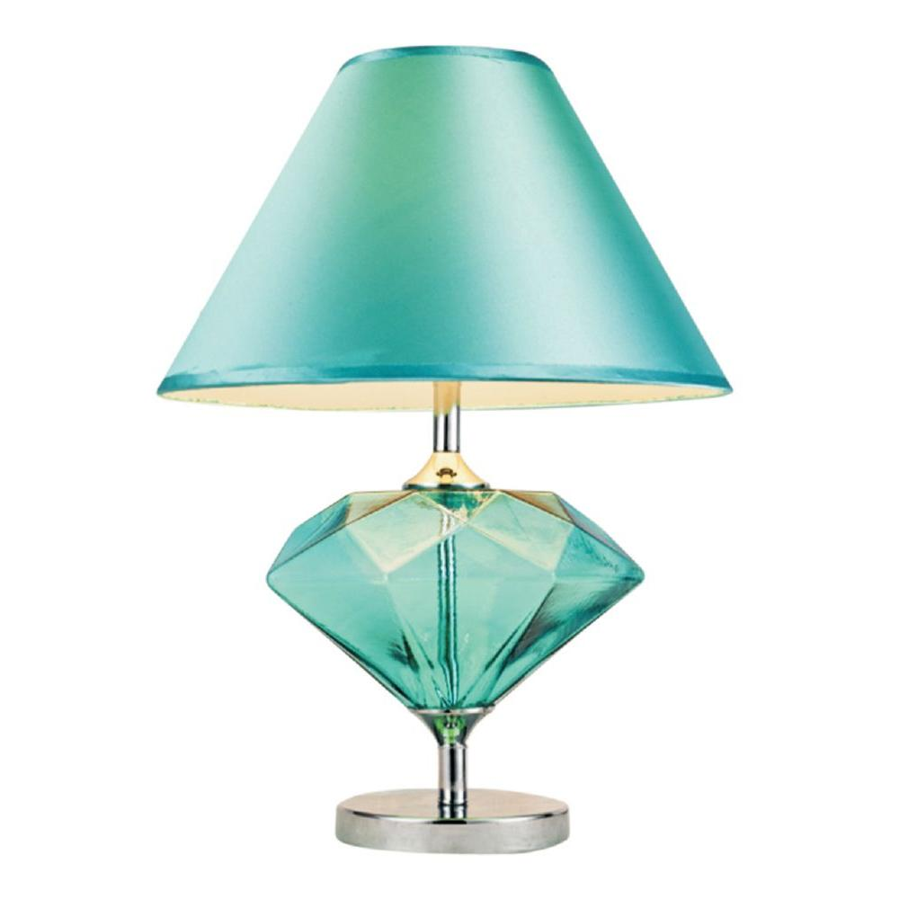 Elegant Designs Royal Gem 22.75 in. Aqua Colored Glass Diamond Shaped Table Lamp with Fabric Shade