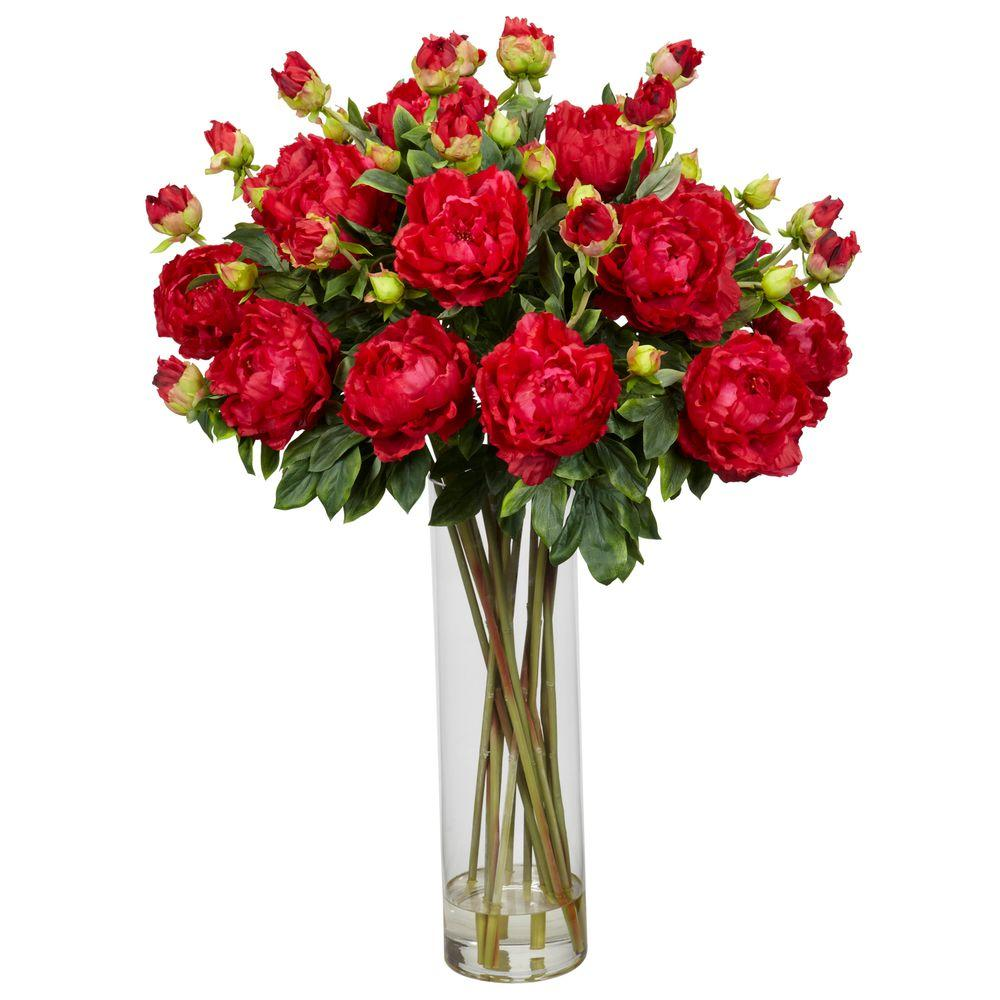 32 in. H Red Peony with Cylinder Silk Flower Arrangement-1230-RD -