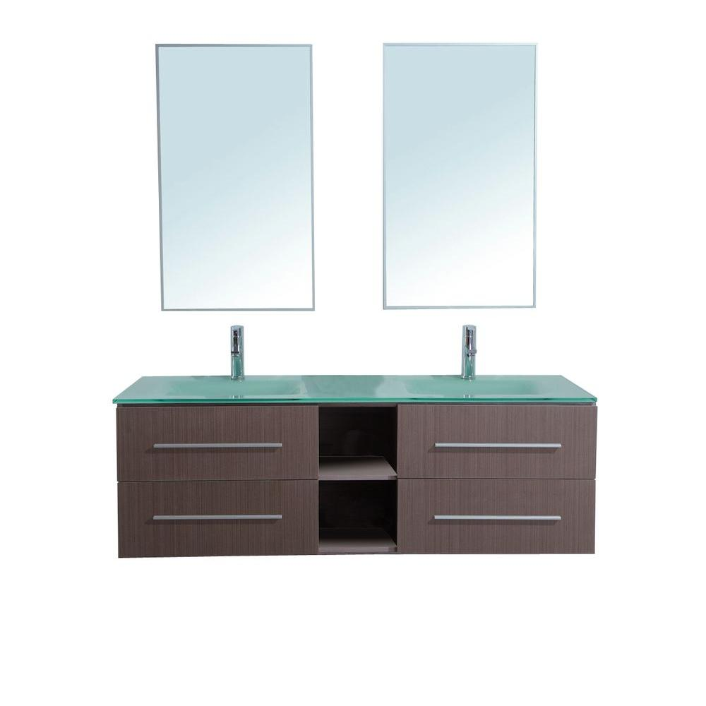 stufurhome Calypso 60 in. Double Vanity in Light Brown with Glass Vanity Top in Aqua and Mirror-DISCONTINUED