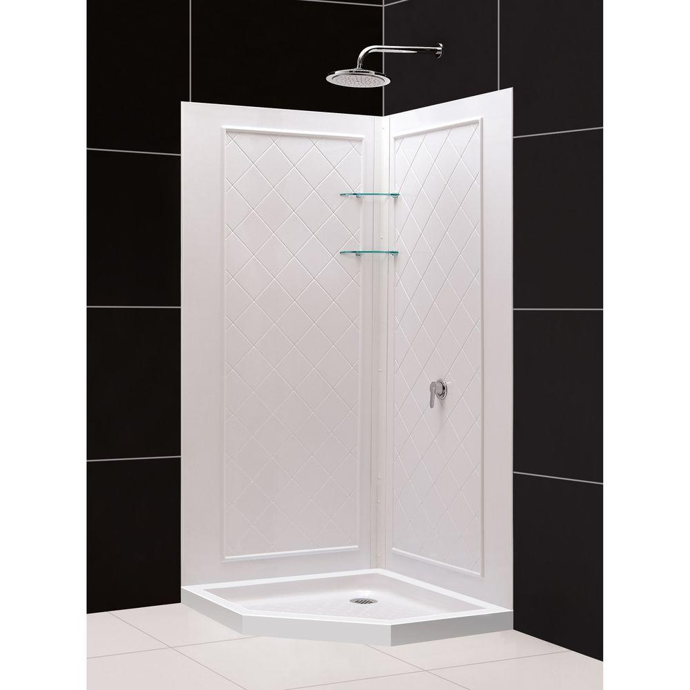 DreamLine QWALL-4 40 in. x 40 in. x 76-3/4 in. Standard Fit Shower Kit in White with Shower Base and Back Wall