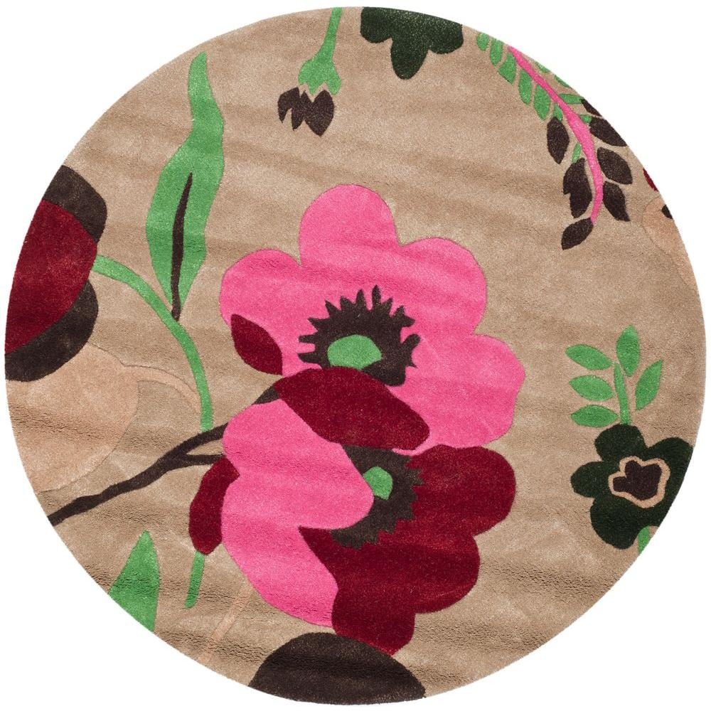 Bella Sand/Multi (Brown/Multi) 5 ft. x 5 ft. Round Area Rug
