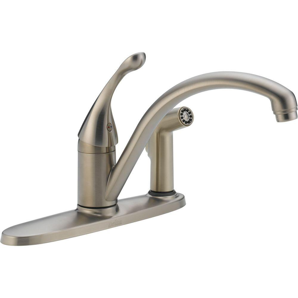 Delta Foundations Single Handle Standard Kitchen Faucet With Side Sprayer In Stainless B4410lf