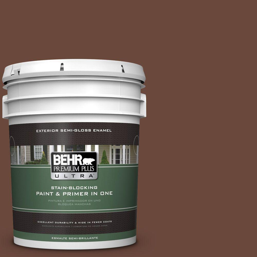BEHR Premium Plus Ultra 5-gal. #BXC-45 Classic Brown Semi-Gloss Enamel Exterior Paint