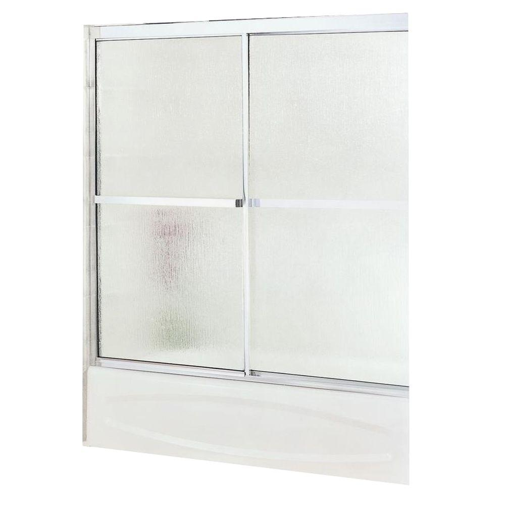 MAAX Soul 59-1/2 in. x 57 in. Sliding Tub/Shower Door in Chrome with Rain Glass