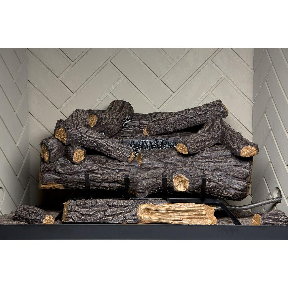 Vent-Free Natural Gas Fireplace Logs with Remote-SCVFR24N - The Home Depot - Emberglow Savannah Oak 24 In. Vent-Free Natural Gas Fireplace Logs
