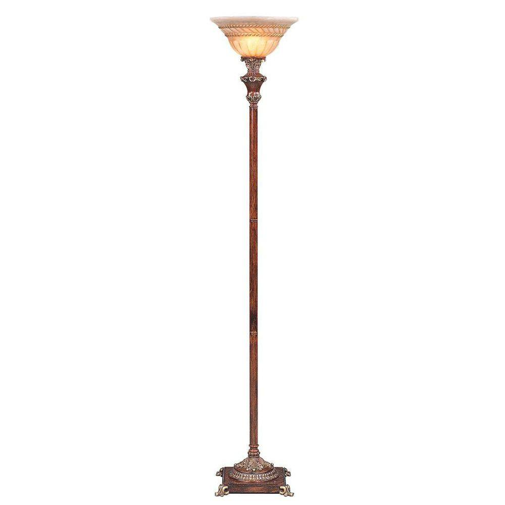 OK LIGHTING 69 in. Resemble Wooden Color Torch Lamp-OK-4171FTR - The