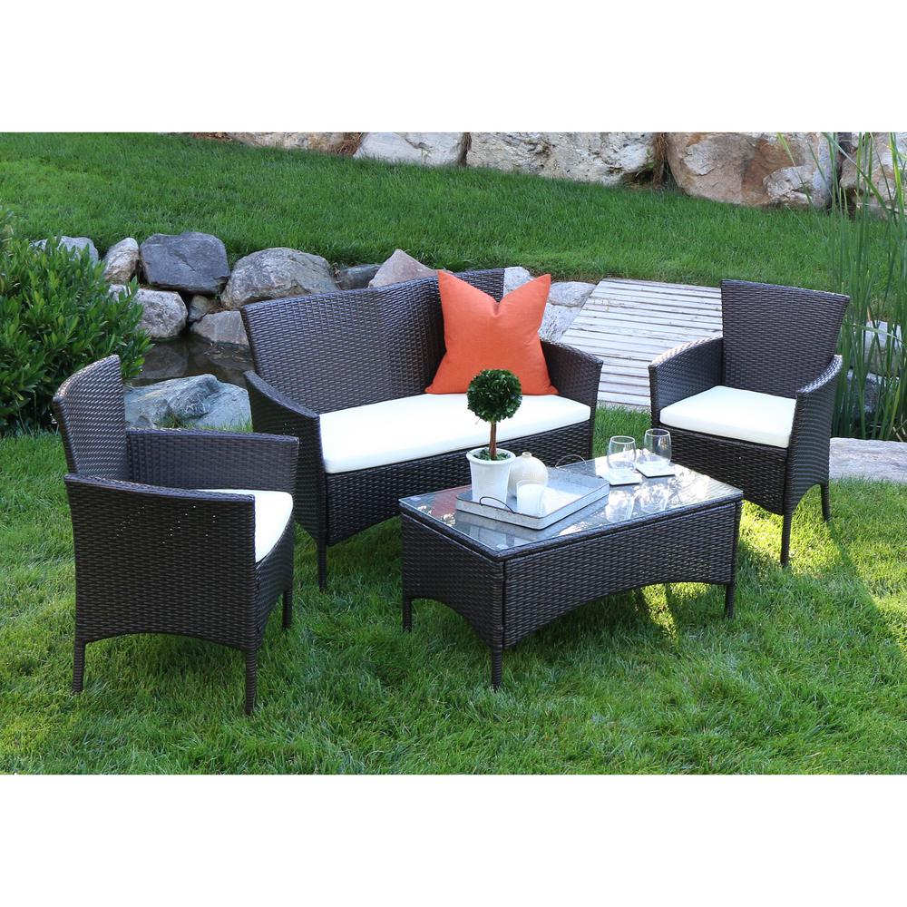 Walker Edison Furniture Company Brown Rattan 4 Piece Patio Chat Set With White Cushions