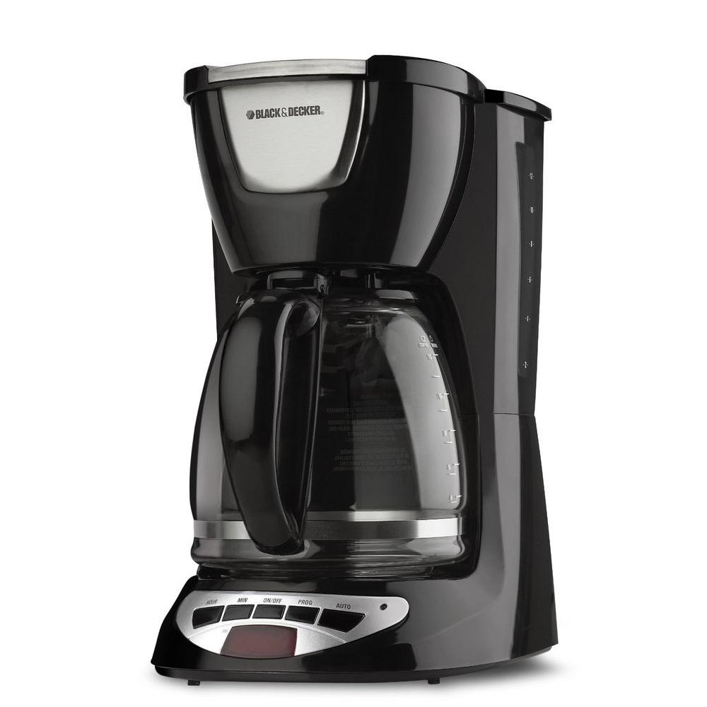BLACK+DECKER 12-Cup Programmable Coffee Maker in Black-DCM100B - The Home Depot