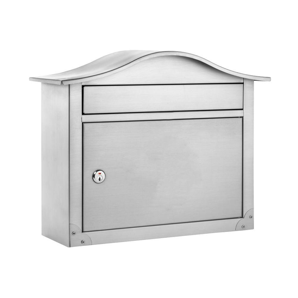 Satin Nickel Peninsula Locking Wall Mount Mailbox