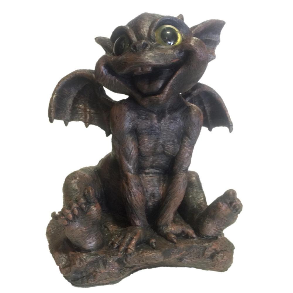 11 in. Baby Brother Ivan Gargoyle with Gold Eyes Siting-Up for