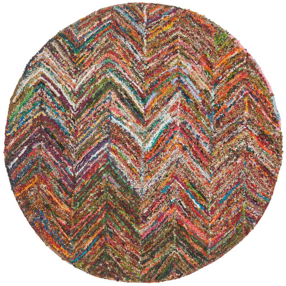 Nantucket Red/Blue/Multi 4 ft. x 4 ft. Round Area Rug