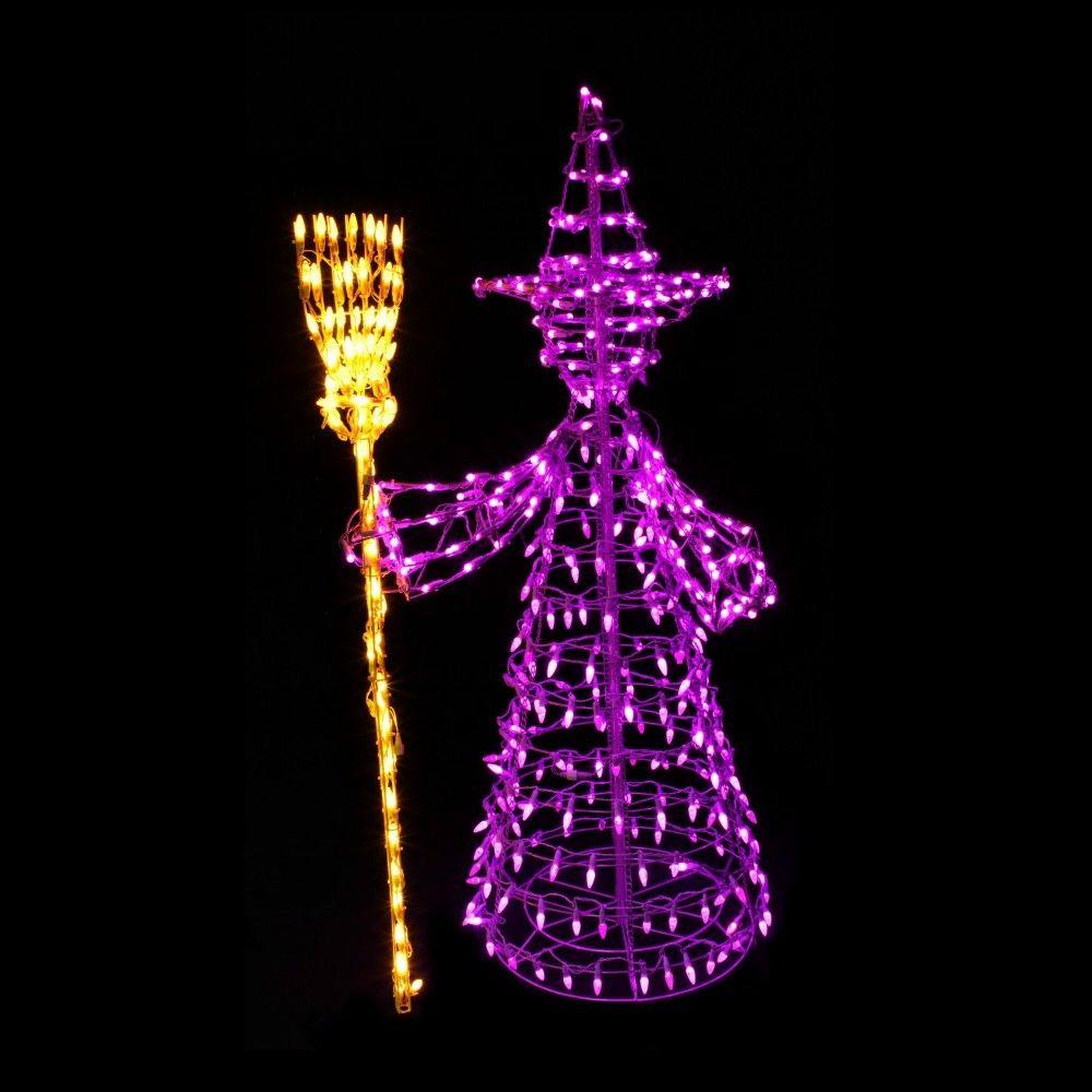 null 5 ft. 460-Light LED Purple and Yellow Twinkling Witch Sculpture