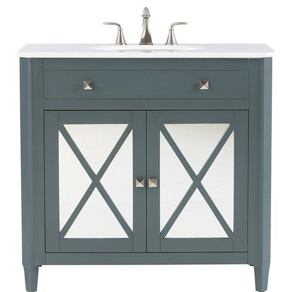 Bathroom sink top view - Home Decorators Collection Barcelona 37 In Vanity In Teal Blue With Marble Vanity Top In