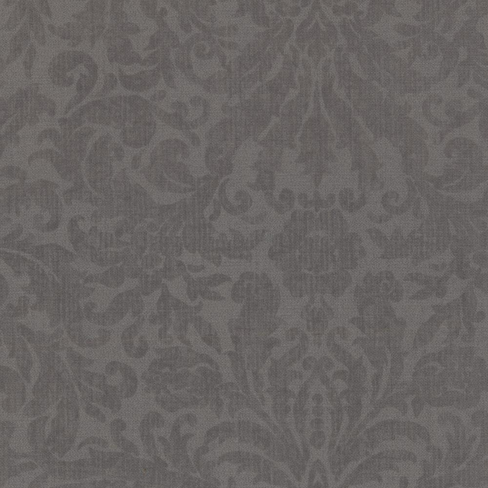 Beyond Basics 60.8 sq. ft. Twill Grey Damask Wallpaper-DISCONTINUED