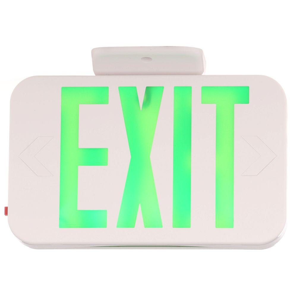 Progress Lighting Thermoplastic LED Exit Sign with Green Letters