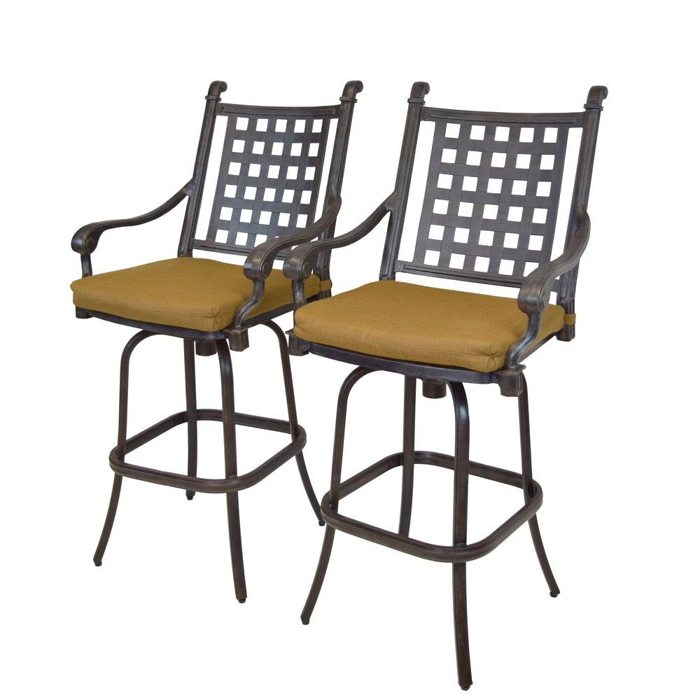 Cast Aluminum Motion Patio Bar Stool with Sunbrella Cushions (2-Pack)