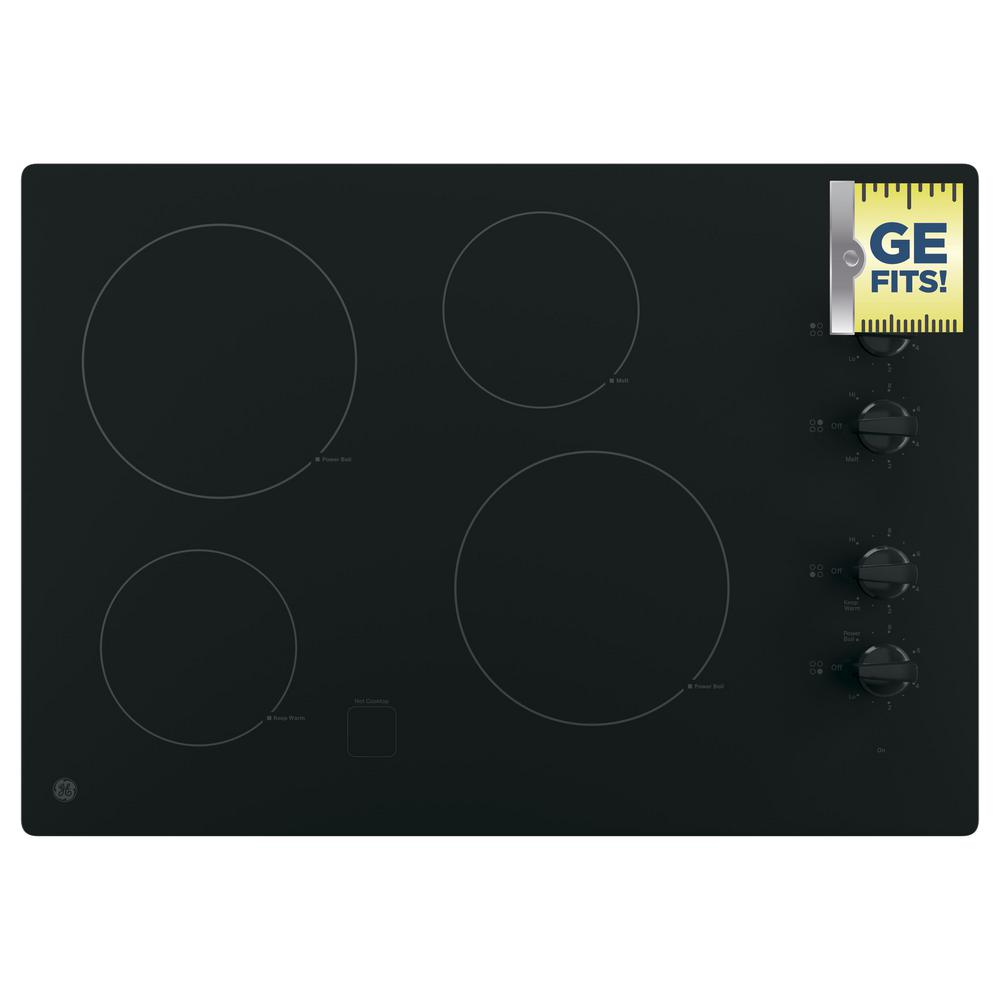 30 in. Radiant Electric Cooktop in Black with 4 Elements including