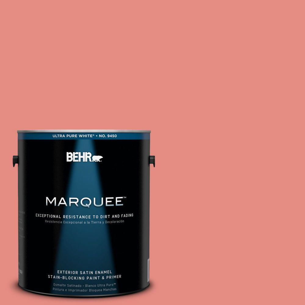 BEHR MARQUEE 1-gal. #190D-5 Peony Pink Satin Enamel Exterior Paint-945401 -