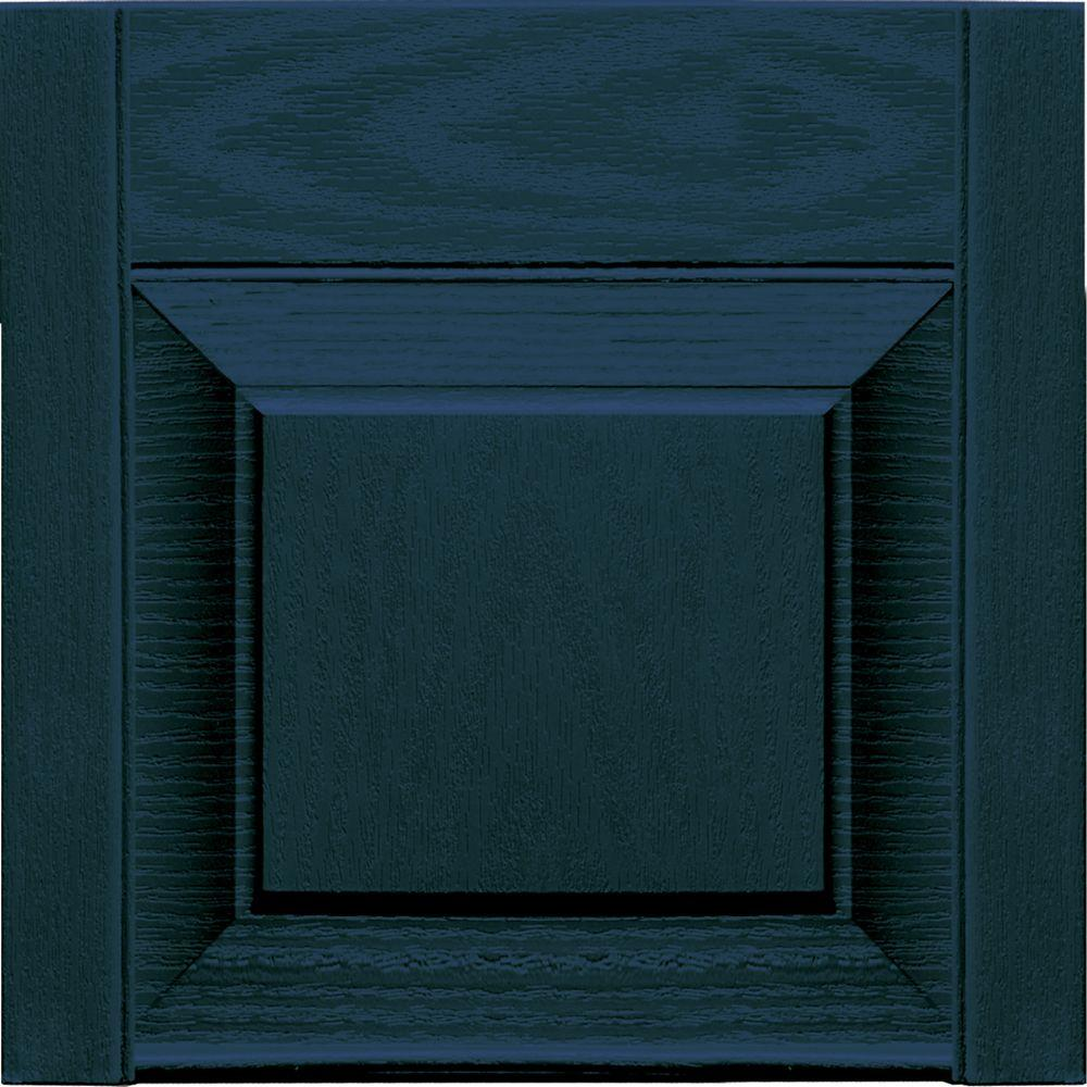 Builders Edge 12 in. x 12 in. Raised Panel Design Midnight Blue Transom Tops Pair #166-DISCONTINUED