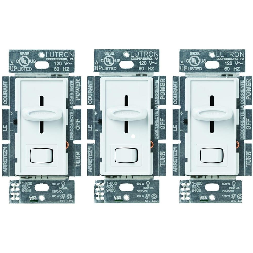 Skylark 150-Watt Single-Pole/3-Way LED/CFL Dimmer, White (3-Pack)