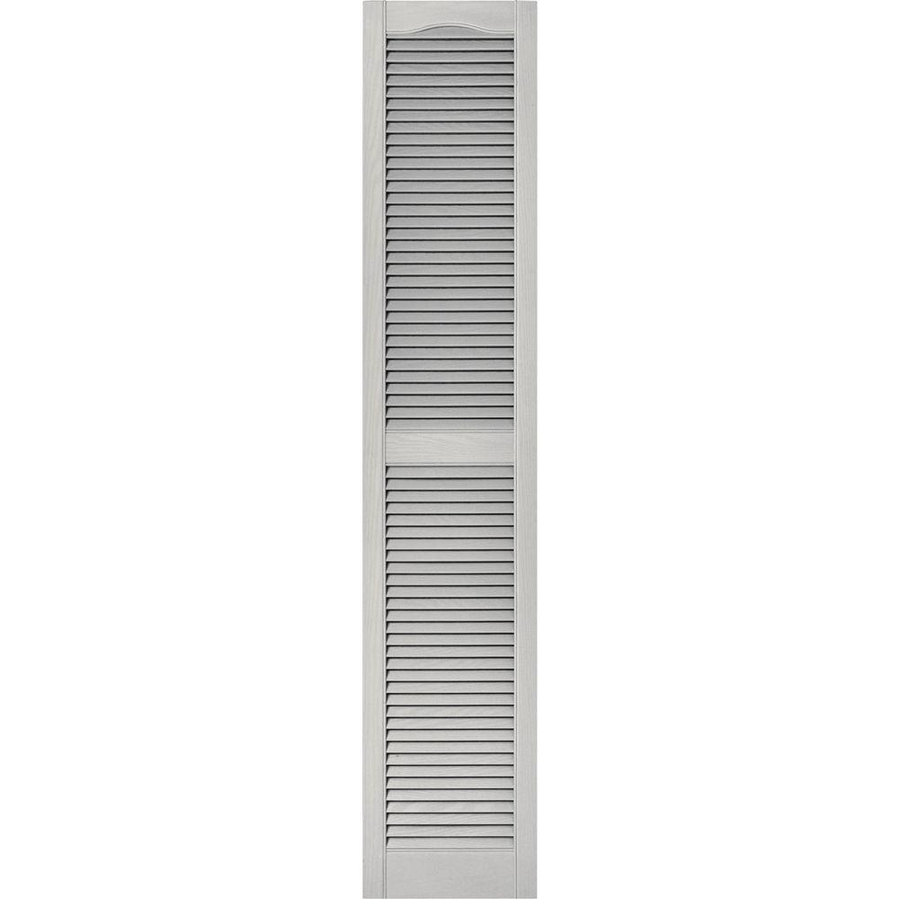 15 in. x 75 in. Louvered Vinyl Exterior Shutters Pair #030