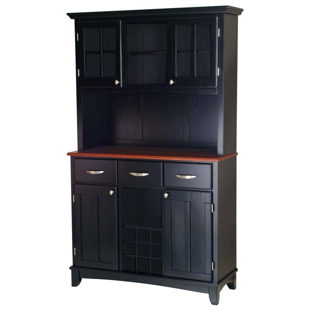 Home styles three drawer 44 in w black buffet with cherry for Home styles furniture canada