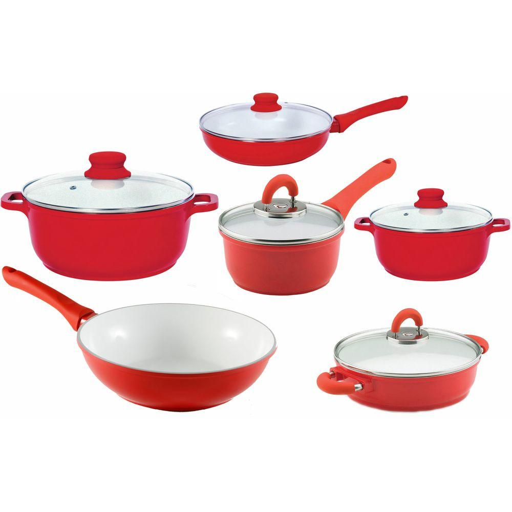 Vinaroz 11-Piece Die Cast Aluminum Cookware Set with Ceramic Non-Stick Coating in Red-DISCONTINUED