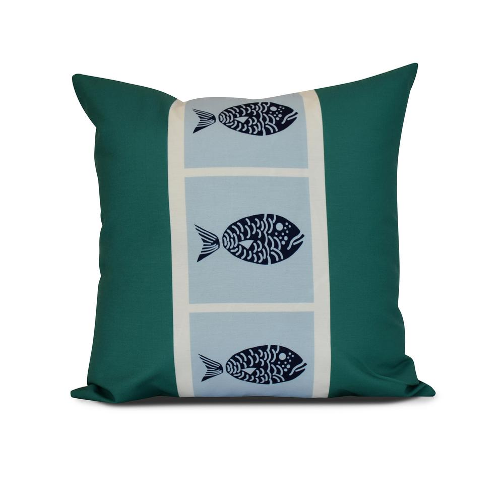 16 in. Fish Chips Animal Print Pillow in Green