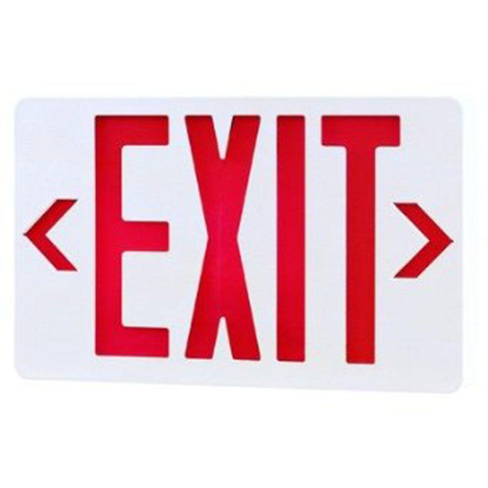 Illumine 2-Light White LED Exit Sign with Red Letters