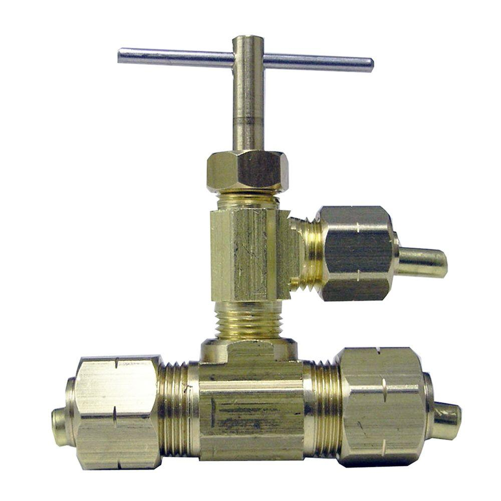 Sioux Chief 3/8 in. Brass Compression Needle Valve Tee with Manual