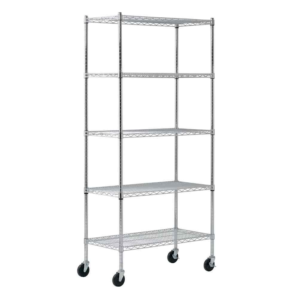 Sandusky 72 in. H x 36 in. W x 18 in. D 5 Shelf Chrome Wire Mobile Commercial Shelving Unit
