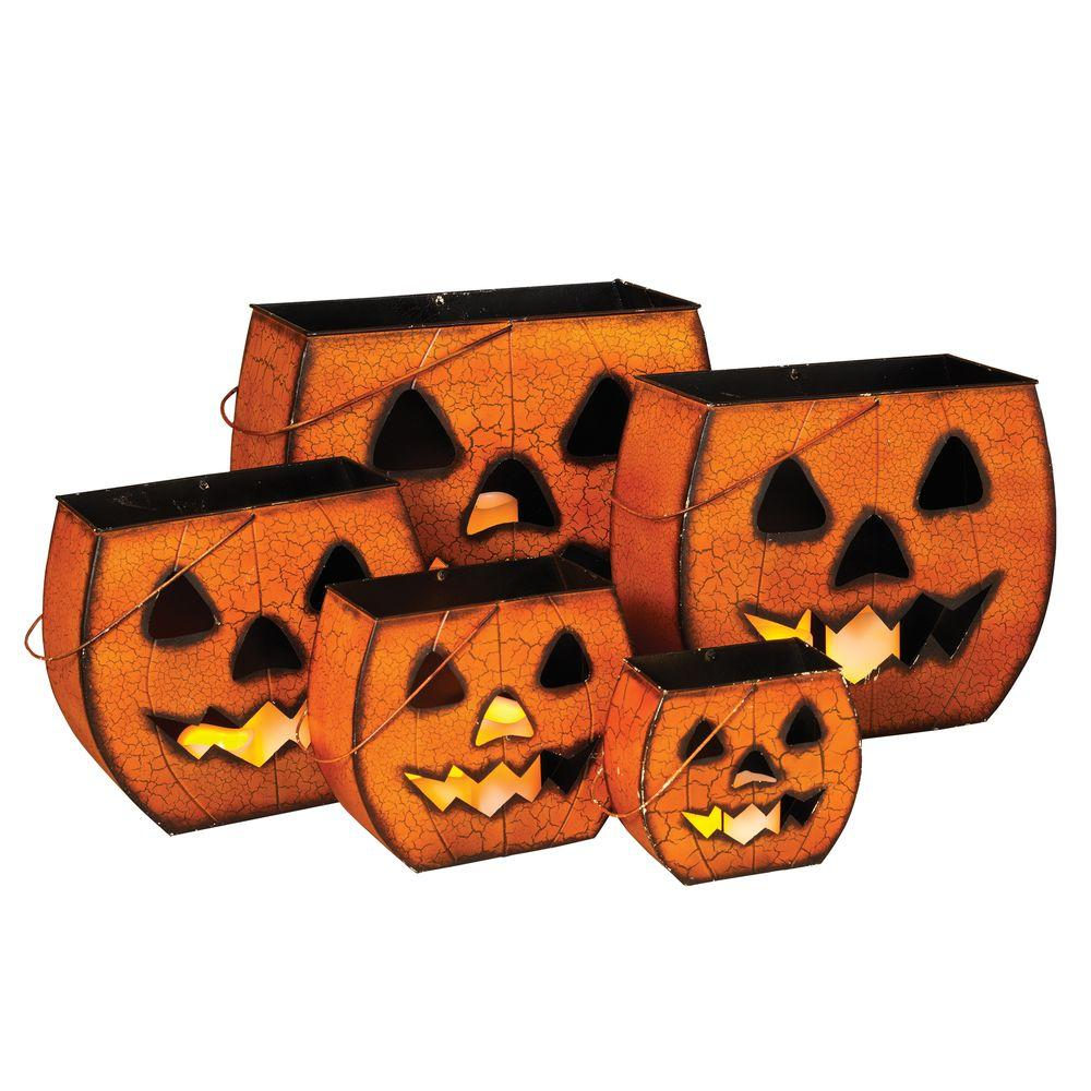 Home accents holiday holiday ornaments and decor halloween metal halloween pumpkin luminaries Halloween decorations home depot