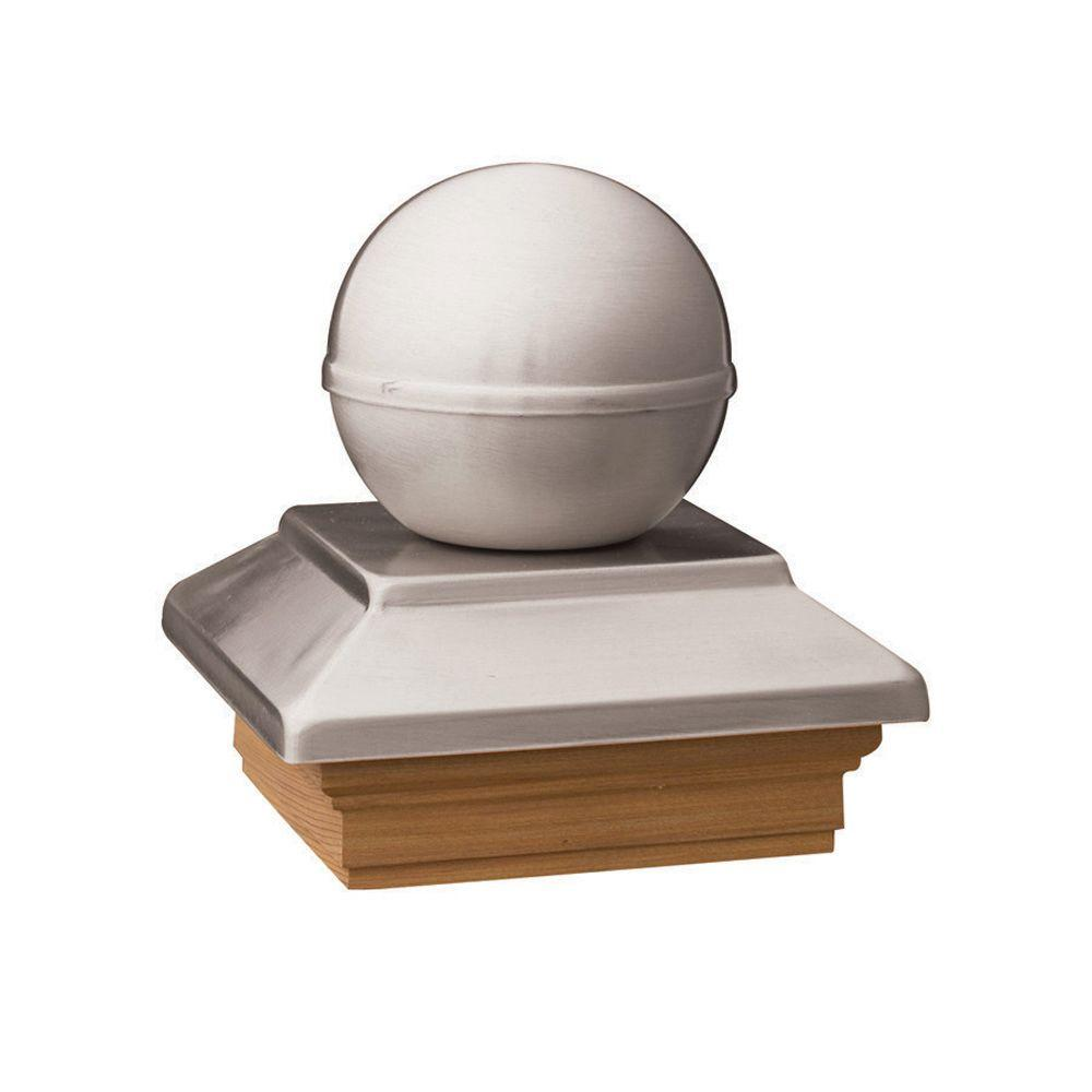 Pressure-Treated 4 in. x 4 in. Pine Polished Stainless Ball Top