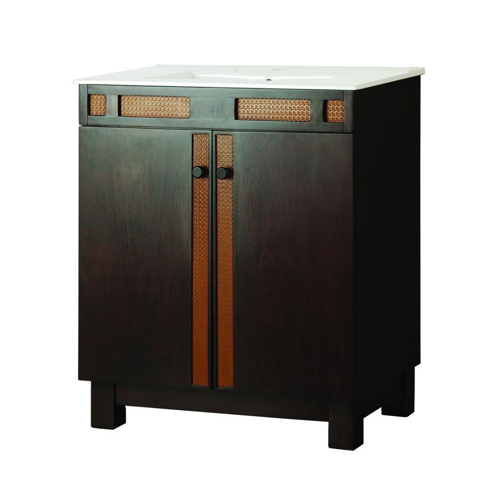 Foremost St. Vincent 28-5/8 in. Vanity in Mahogany Nutmeg with Vitreous China Vanity Top in White and Sink-DISCONTINUED